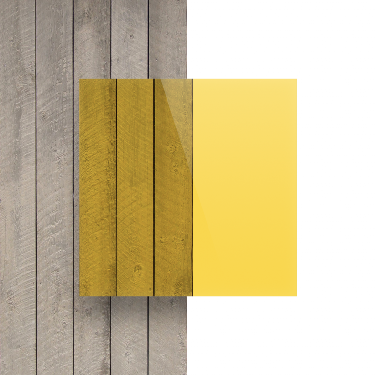 Vorseite Acrylglas Platte getoent gelb