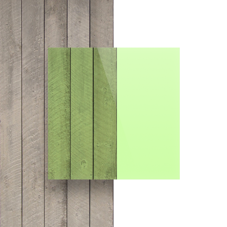 Vorseite Acrylglas Platte fluoreszierend gruen