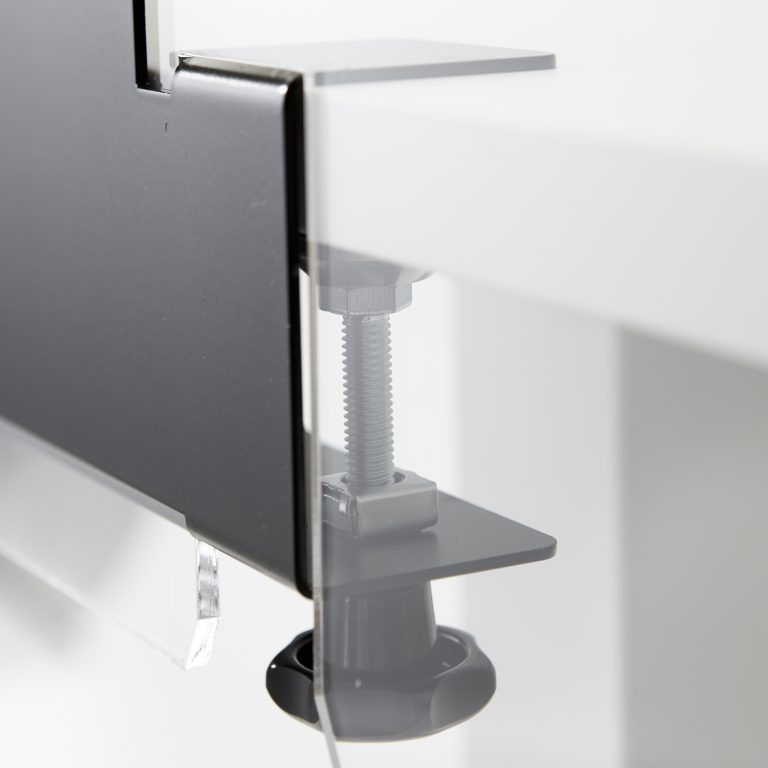 Stahlhalterung mit Klemmsystem fuer Acrylglas